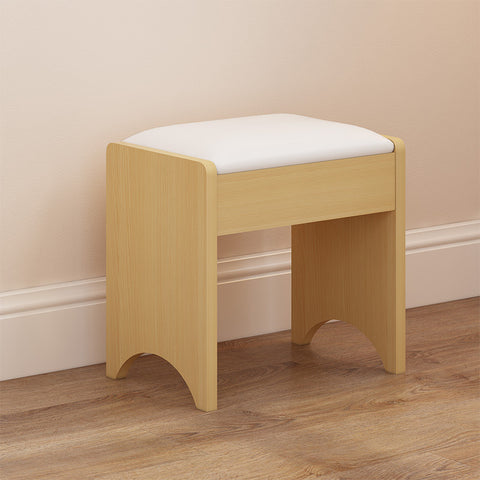 White Yellow Fold Down Mirror Dresser Makeup Table With Side Table
