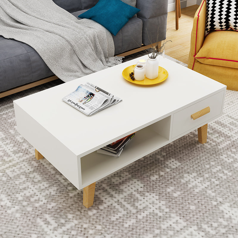 Off-White Wooden Coffee Table With Drawer