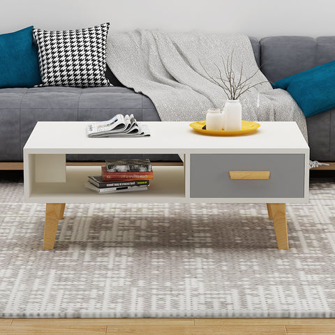 Off-White Grey Drawer Wooden Coffee Table With Drawer