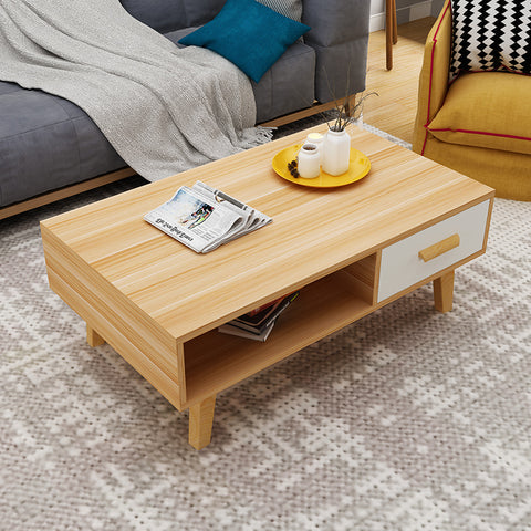 Oak Wooden Coffee Table With Drawer