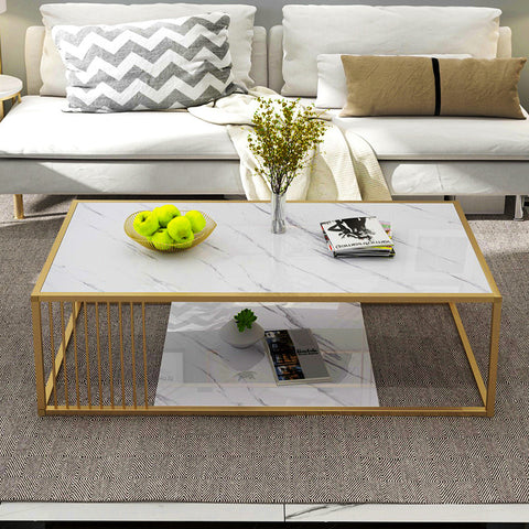 Double-Tiers Marble Print Coffee Table With Gold Metal Base