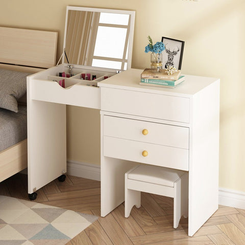 Extendable Fold Down Mirror Dresser Makeup Table