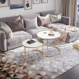 Marble Print Extendable Round Coffee Table Set