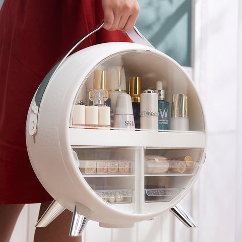 Brightness Adjustable LED Mirror Cosmetic Organizer