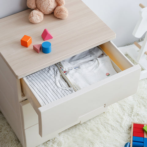 4-Tier Wooden Top Plastic Drawer Storage Cabinet- Length 75cm