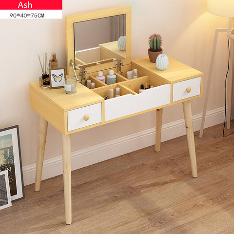 Ash Wooden Fold Down Mirror Dresser Makeup Table - 90cm