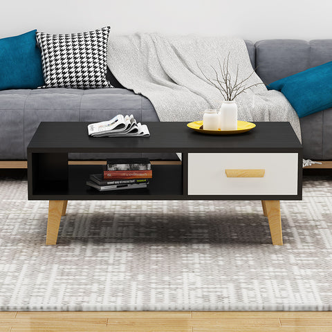 Black Wooden Coffee Table With Drawer - Length 120cm