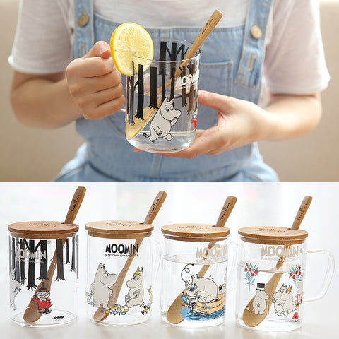 Moomin Glass Mug with Wooden Lid & Spoon