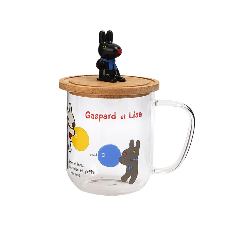 Gaspard et Lisa Glass Mug with Wooden Lid