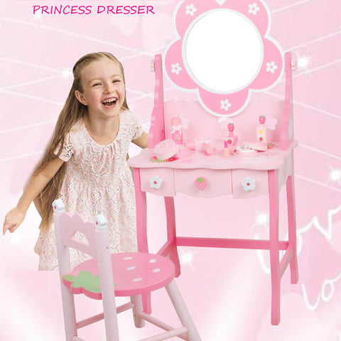 Wooden Cuite Strawberry Dressing Table Playset With Chair