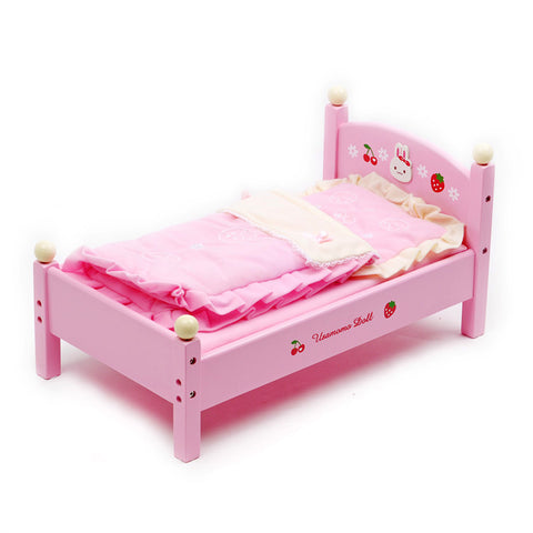 Usamomo Doll Pretend Play Wooden Doll Bed
