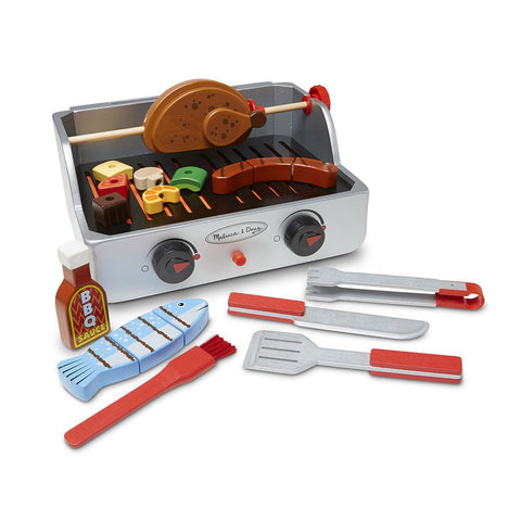 Melissa & Doug Wooden Rotisserie & Grill 24 Piece Barbecue Set