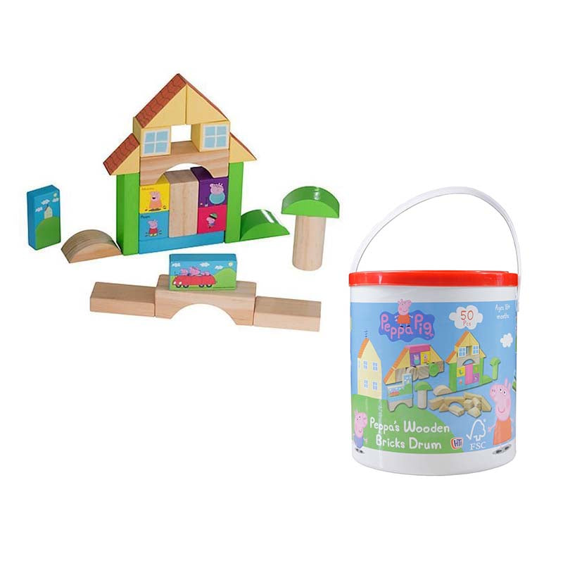 Peppa Pig - Peppa's Wooden Bricks Drum – Agoramart