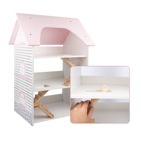 Kids Pretend Play Wooden Three-Storey Doll Room Set
