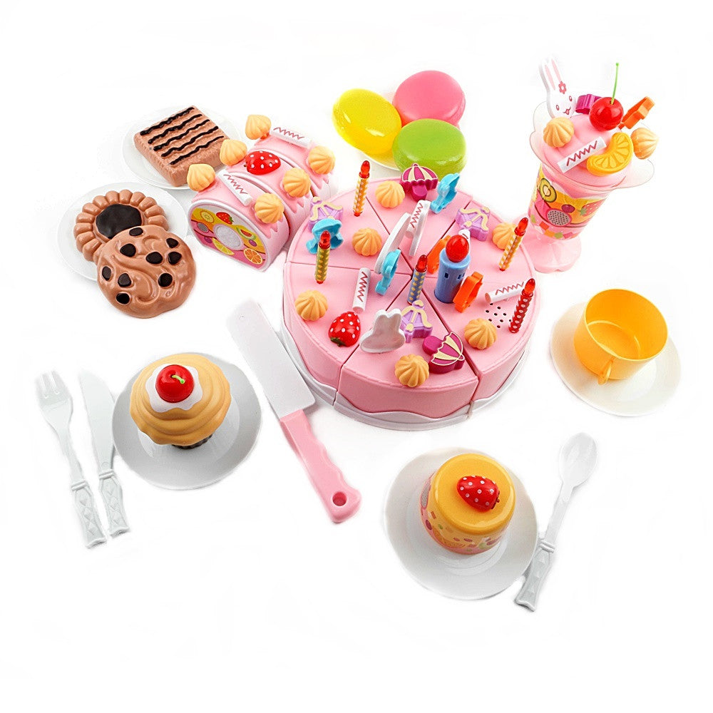 Electronic Kids Cutting Birthday Cake Playset  82 Pieces