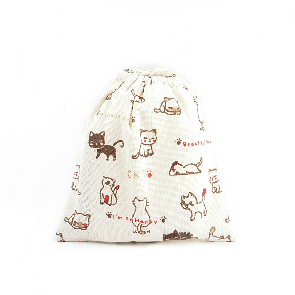 Happy Cat Canvas Pouch