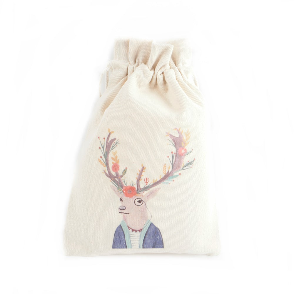 Reindeer Gentleman Canvas Pouch