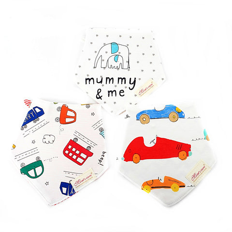 Vehicles & Animals Reversible Bib Set of 3