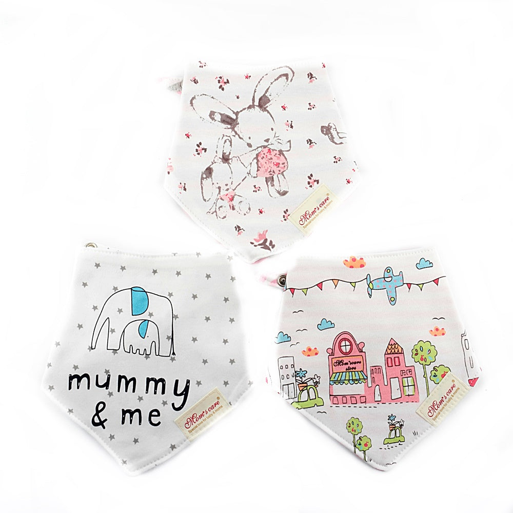 Bunny & Mini House Reversible Bib Set of 3