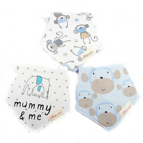 Cute Ape & Little Monkeys Reversible Bib Set of 3