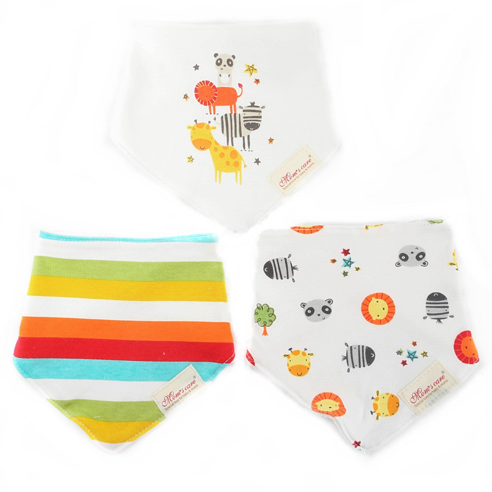 Rainbow and Little Animals Bib Set of 3
