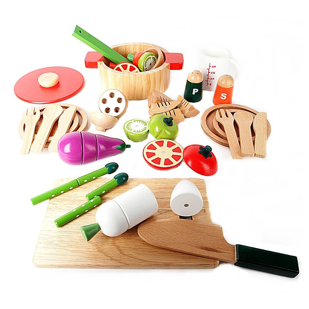 Woody Puddy My First Playing House Wooden Toy Special Cooking Pan Set with Vages