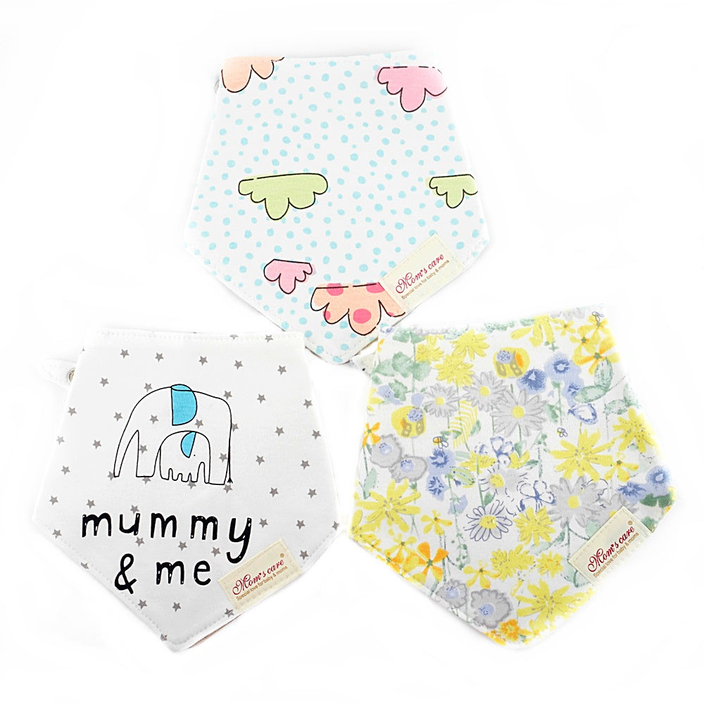 Clouds & Flowers Reversible Bib Set of 3