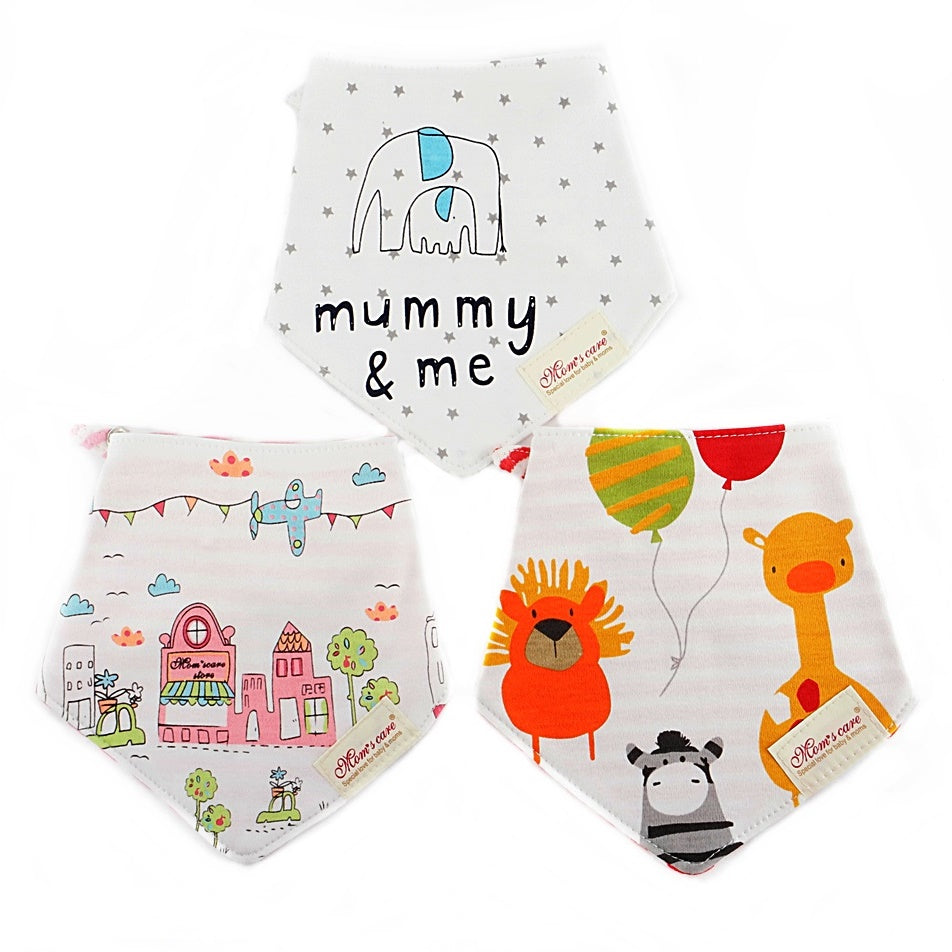 Mini House & Zebra Reversible Bib Set of 3