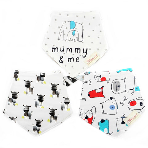 Little Zebras & Puppy Reversible Bib Set of 3