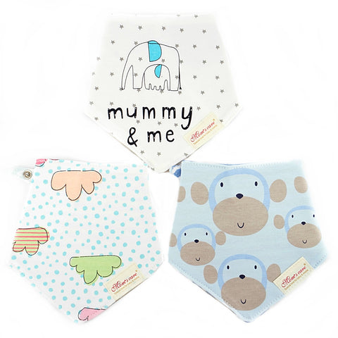 Clouds & Ape Reversible Bib Set of 3
