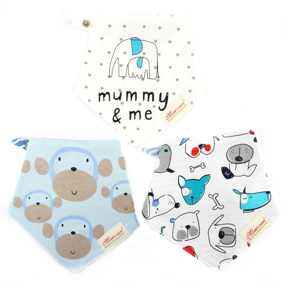 Cute Ape & Puppy Reversible Bib Set of 3