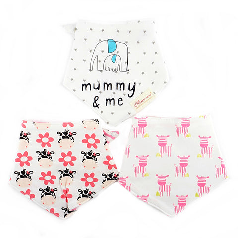 Pinky Zebras and Mummy Reversible Bib Set of 3