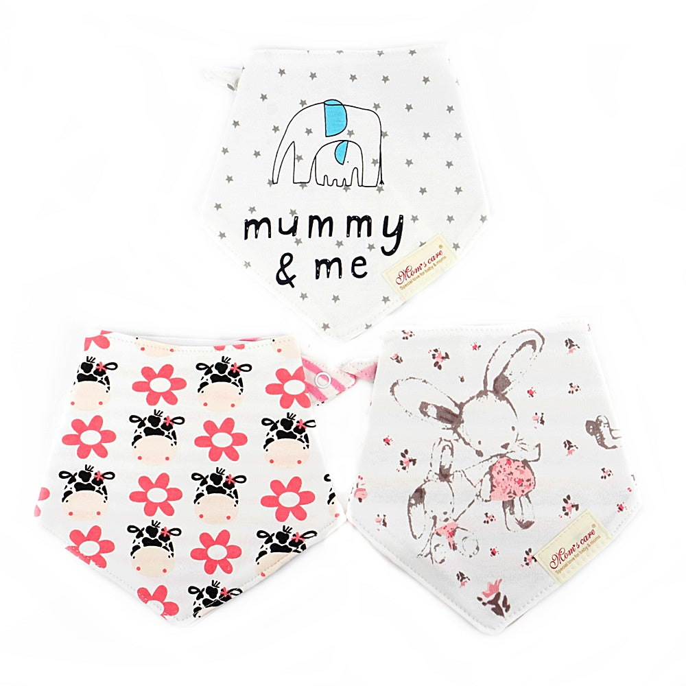 Bunny and Little Animals Reversible Bib Set of 3