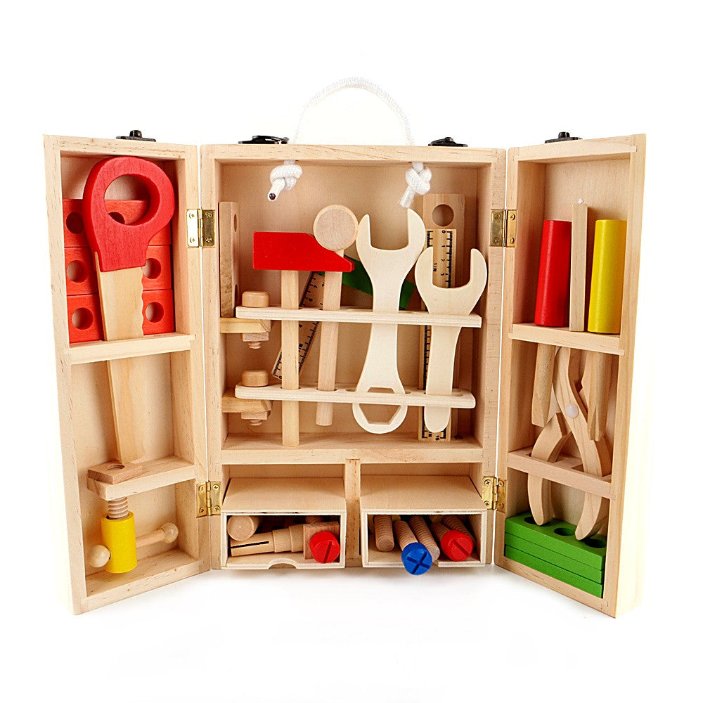 Wooden Carpenter Tool Box Play Set