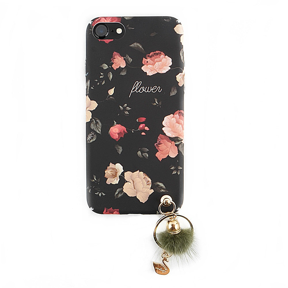 Vintage Roses With Fur Ball Holder iPhone 7/7 Plus Case *Free Tempered Glass