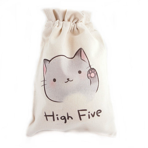 High Five Cartoon Cat Canvas Pouch