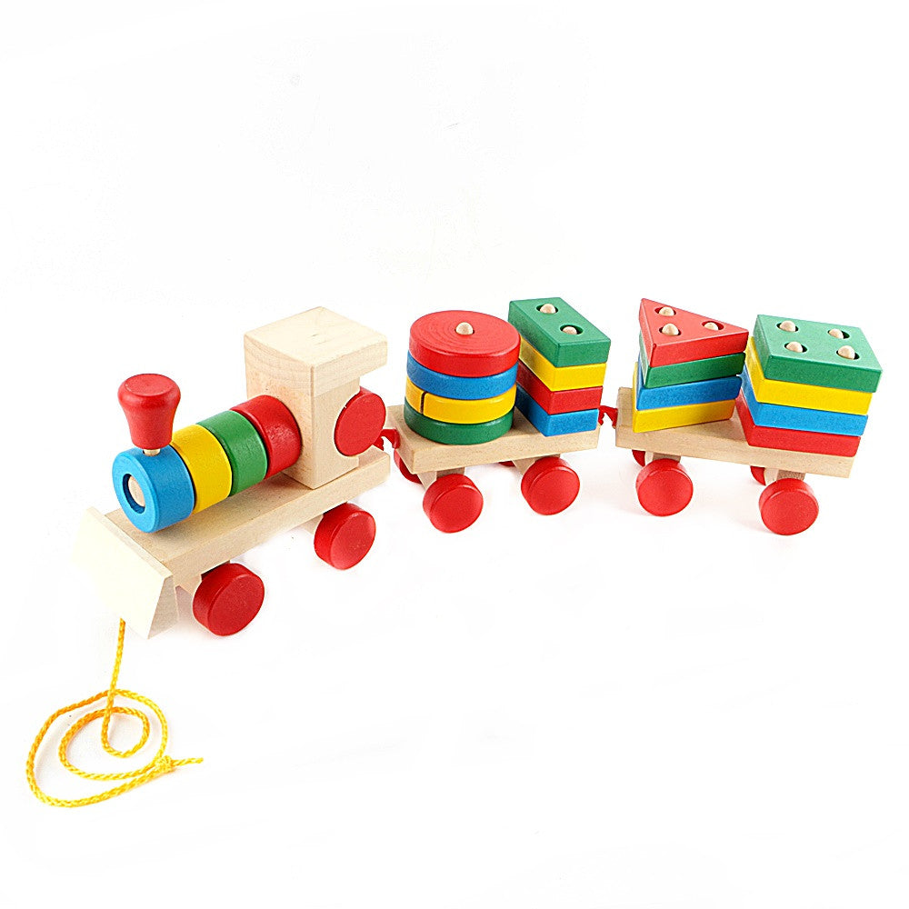 Large Educational Geometric Stacking Sort Wooden Dragging Train