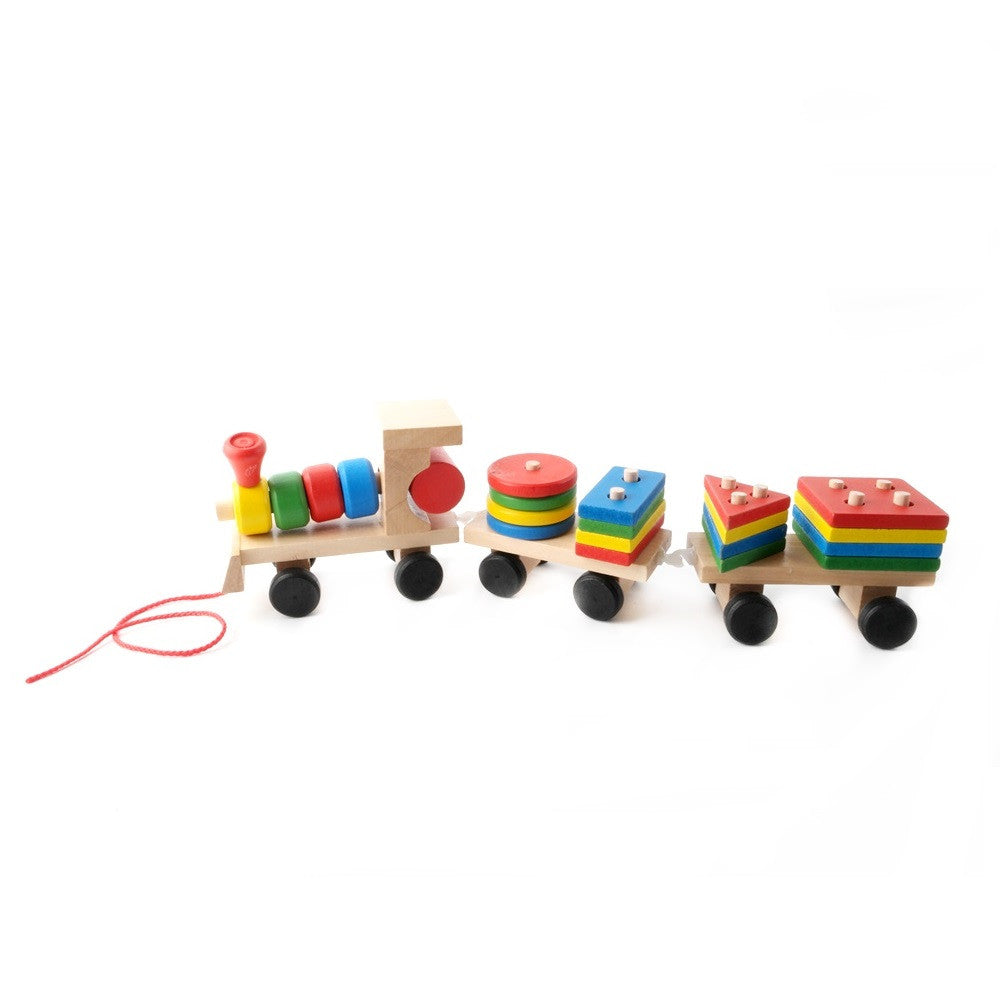 Small Educational Geometric Stacking Sort Wooden Dragging Train