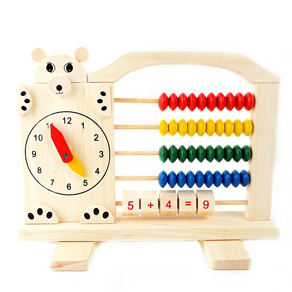 Multifunctional Clock Calculator Learning Wooden Toy