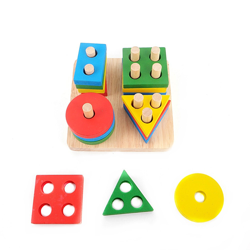 Geometric Shape Sorting Board Wooden Stacking Toy