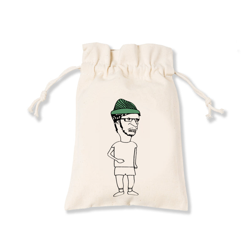Uncle with Green Cap Canvas Pouch