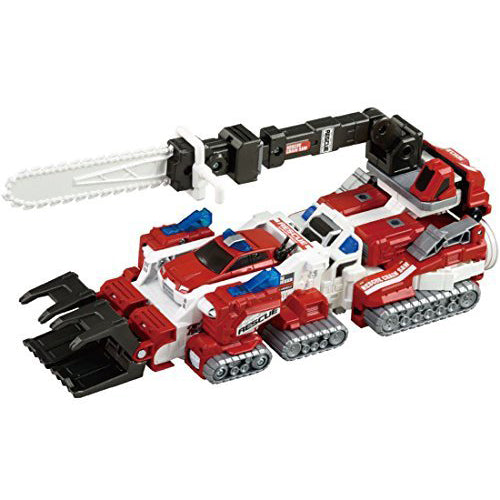 Tomica Drive Head Synchro Combine Series Support Vehicle Rescue Bulldozer & Rescue Chainsaw Docking Mode Set