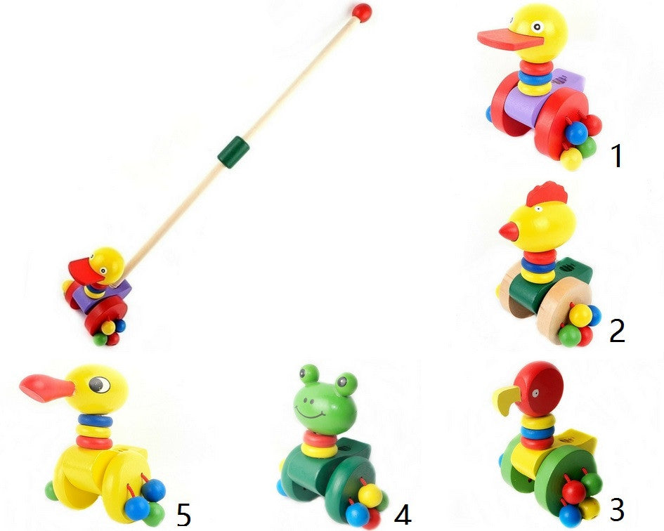 Wooden Cartoon Animals Push Car Toy Walker