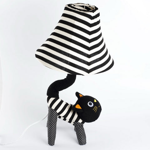 Ryden Black Strips Cat Lamp