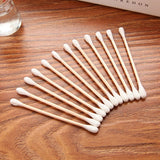 Double Head Wood Cotton Swab Bud Set Of 3