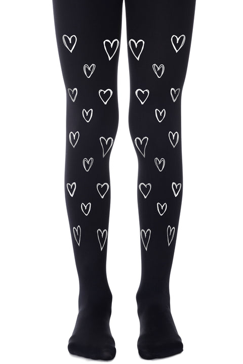 GIRLS BLACK TIGHTS WITH HEARTS גרביונים שחור