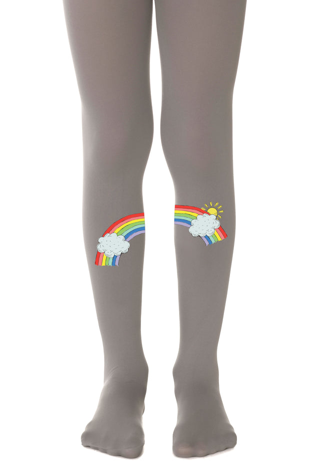 GIRLS GREY TIGHTS WITH RAINBOW גרביונים אפור