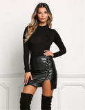 Black Lace Up PU Leather Skirts 2017