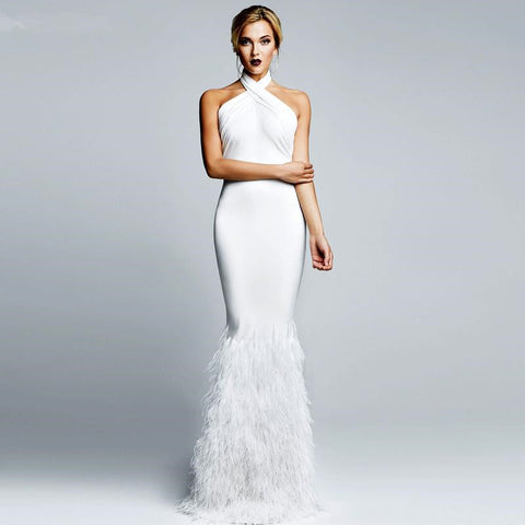 Sexy White  Dresses Halter Neck Custom Made Formal Dress