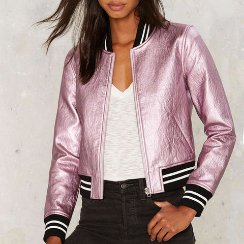 Girlie closet Solid Pink Metallic  PU Bomber Jacket